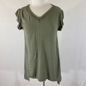 Ellen Tracy Rayon Crinkle Popover Tunic Olive Med